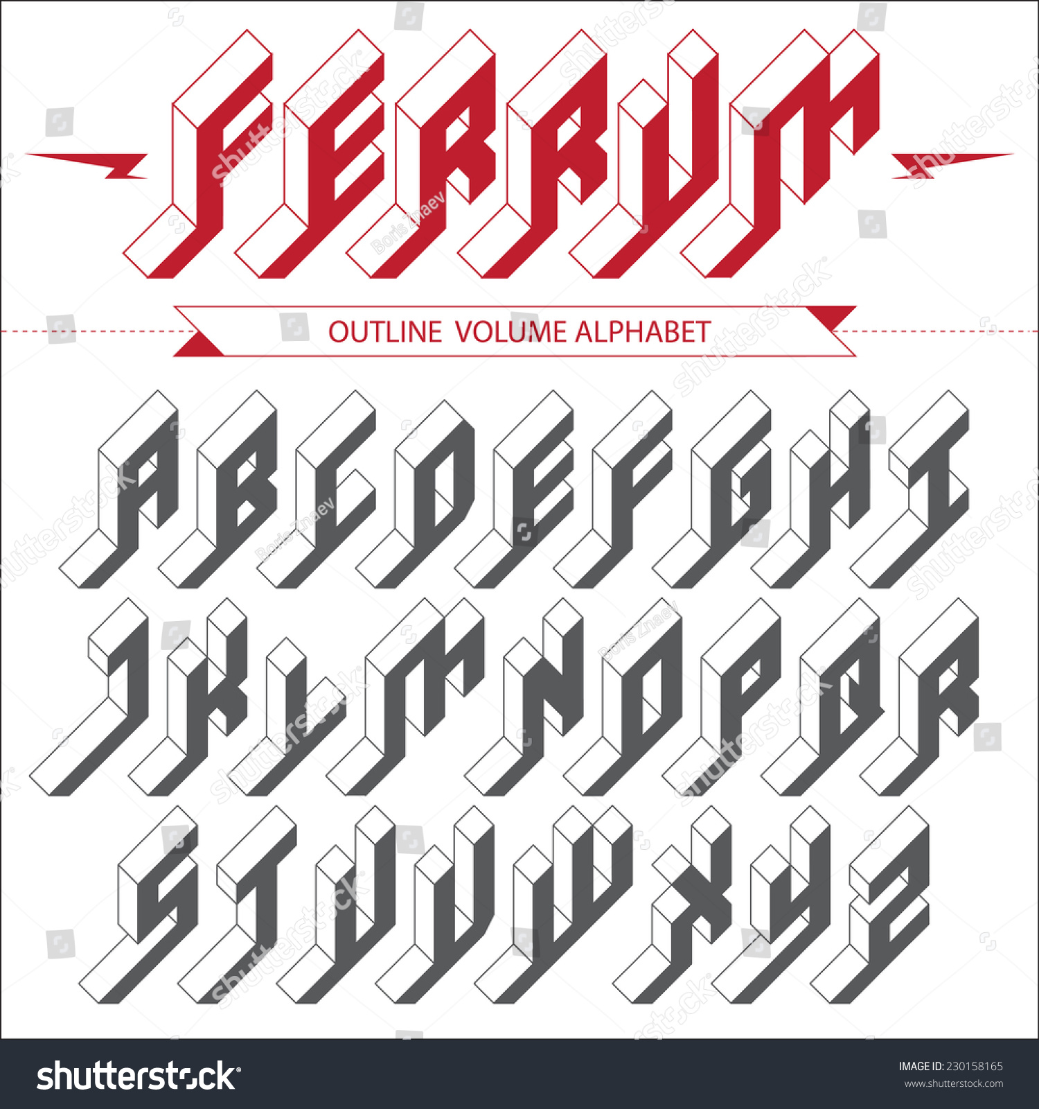 isometric 3 d font design vector volume のベクター画像素材