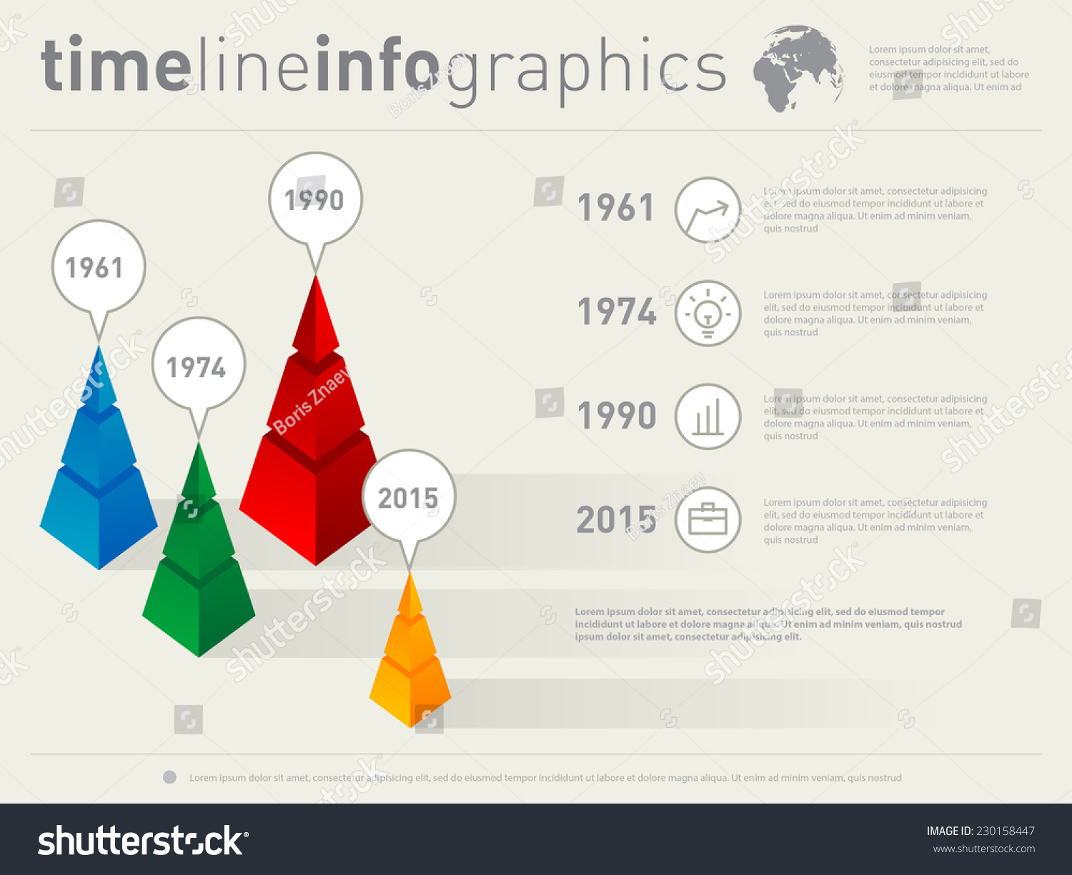 Time Line Infographics With Icons Vector Design Template With