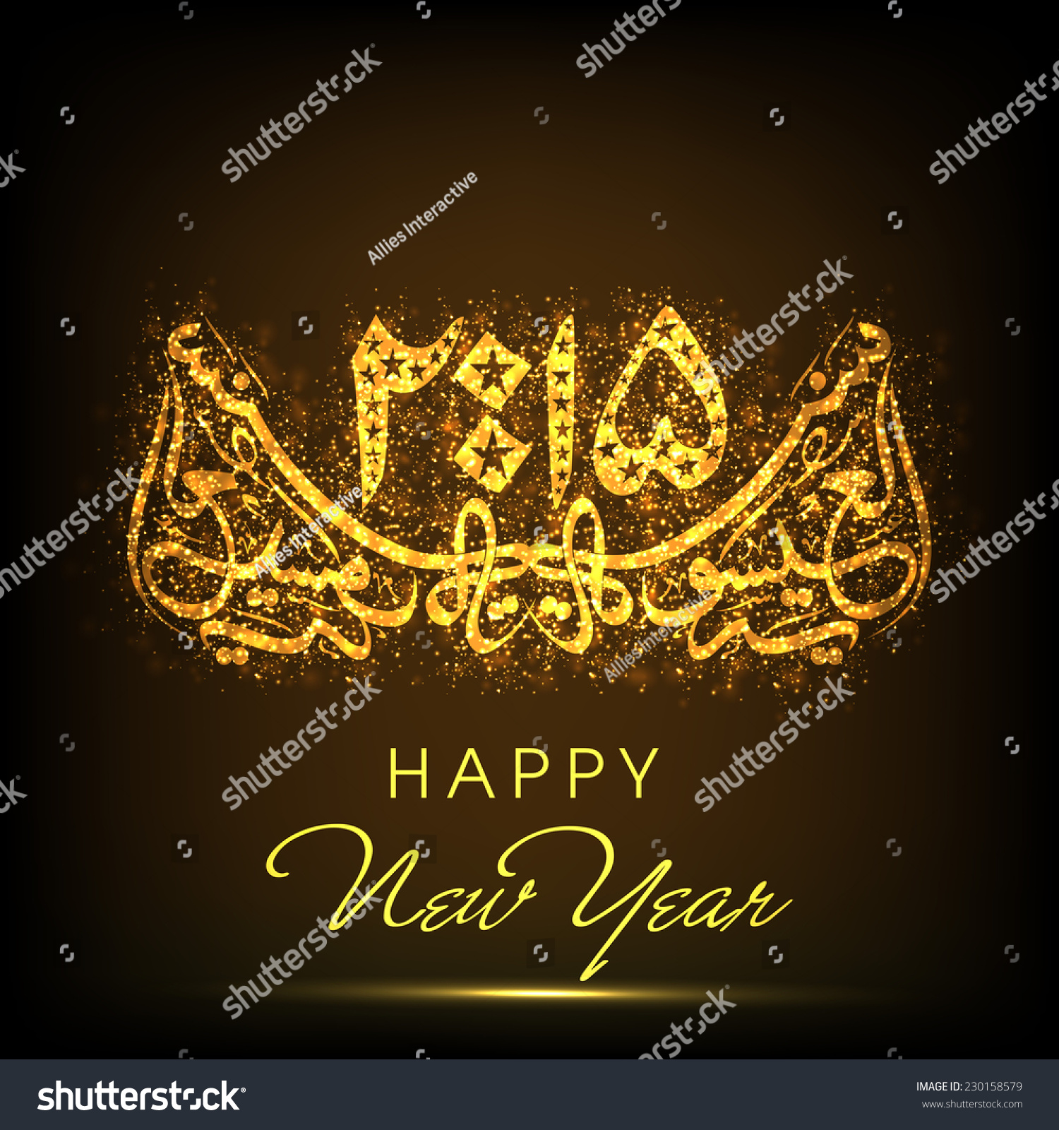 Royalty free beautiful greeting card with arabic 230158579 stock beautiful greeting card with arabic islamic calligraphy of text happy new year 2015 on shiny brown m4hsunfo