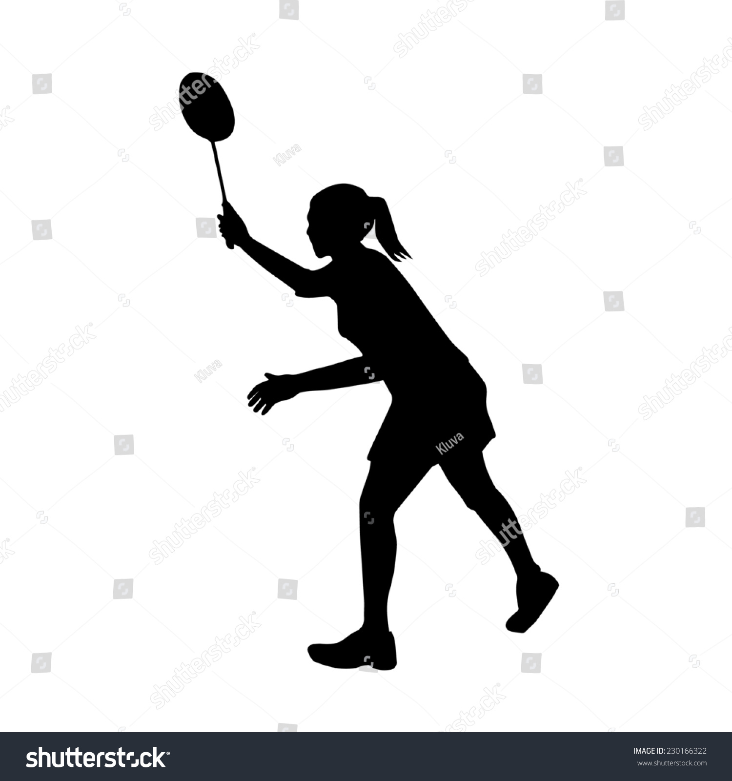 Silhouette Female Badminton Player On Defense Stock Vector ... Badminton Player Positions