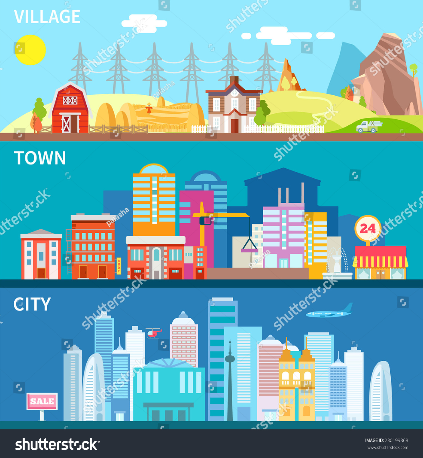 Http image shutterstock com z stock vector city town and village landscapes in modern flat primitive style vector illustration in bright 230199868 jpg