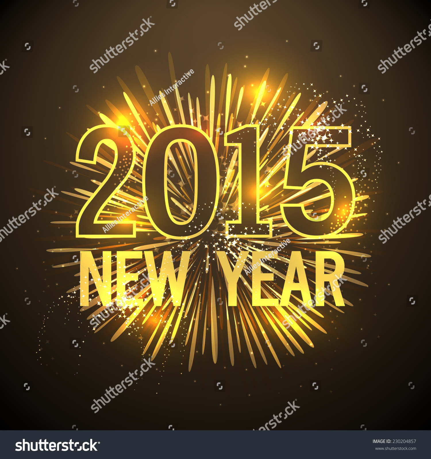 Happy New Year 2015 Greeting Card Stock Vector Royalty Free