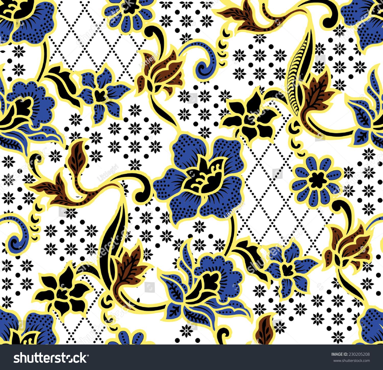 Vector Backgroundbatik Design Pattern On Colorful Stock