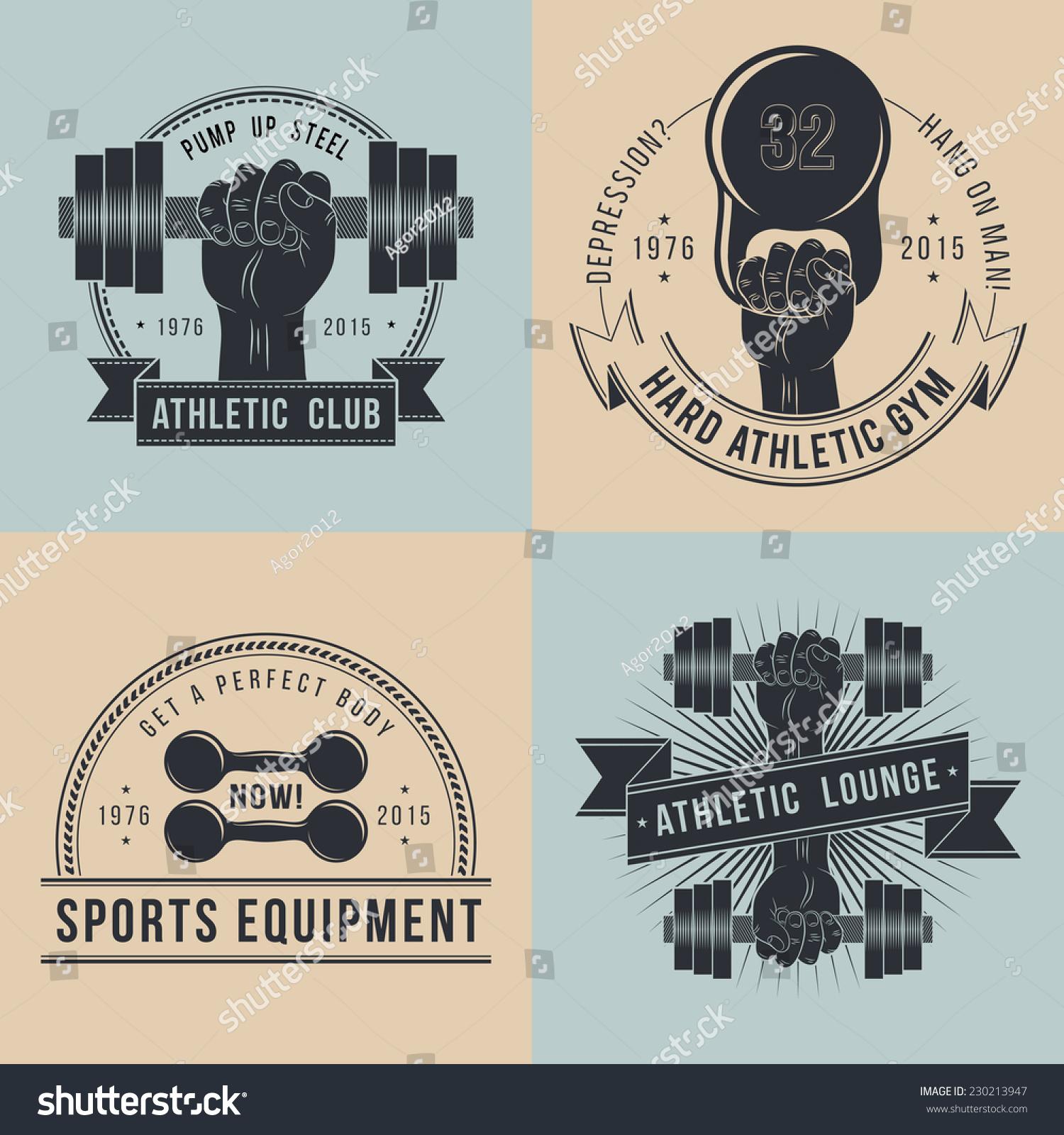 Gym Equipment Logo: Hand Dumbbells Logos Sport Athletic Club Stock Vector