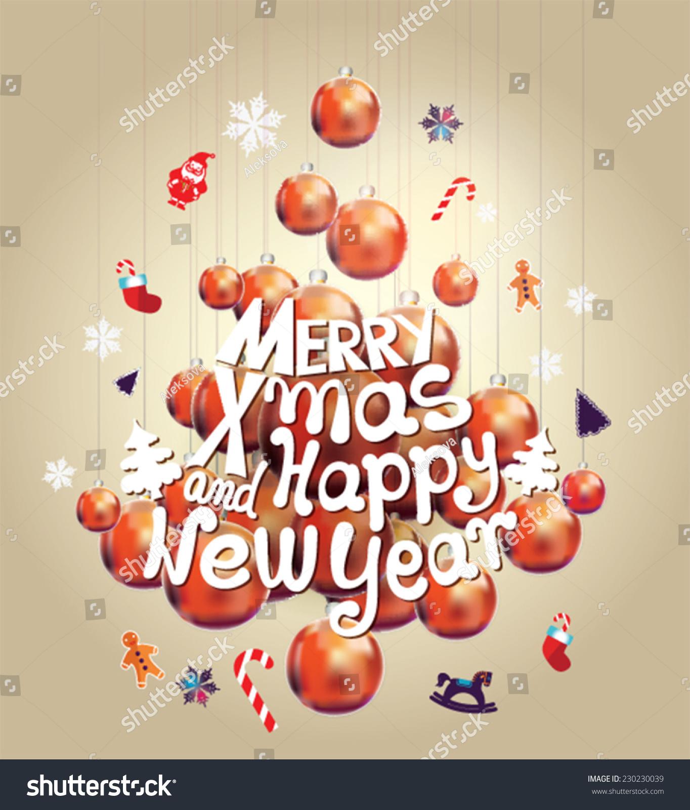 christmas tree made christmas balls christmas stock vector (royalty