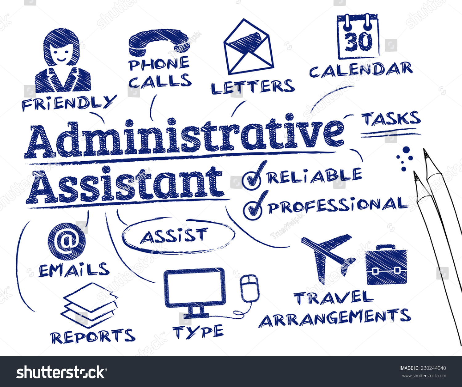 administrative assistant chart keywords icons stock vector administrative assistant chart keywords and icons