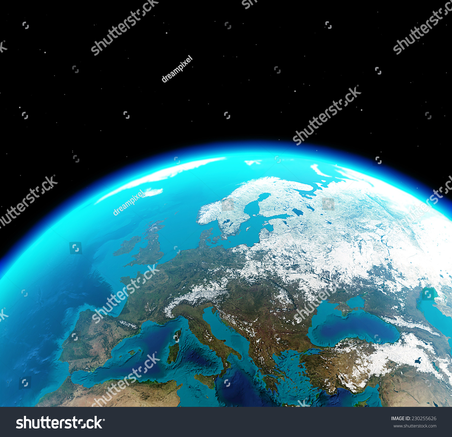 Continental europe viewed outer space elements stock for Outer space elements