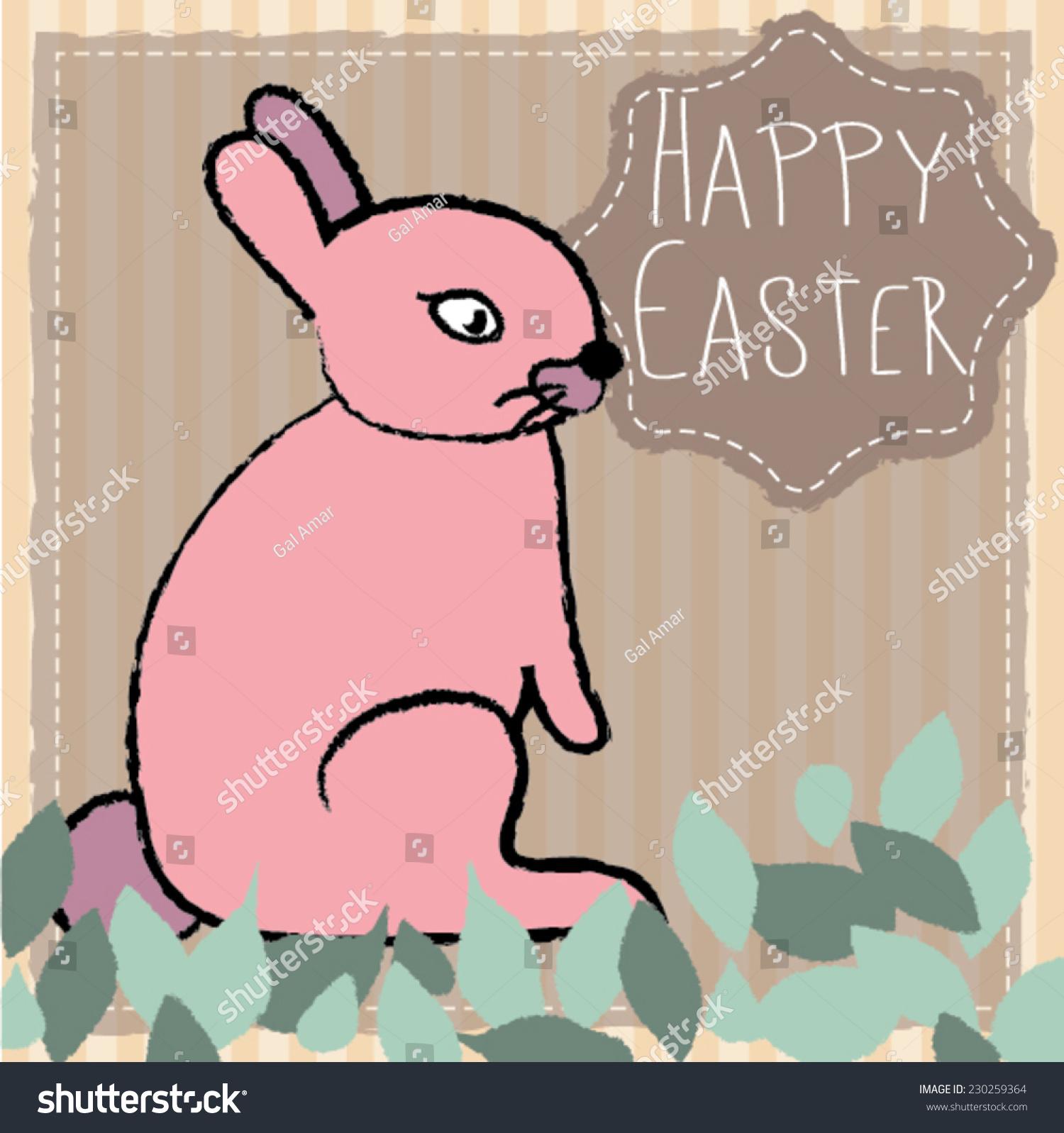 Cute Bunny Cartoon Vector Illustration Hand Stock Vector Royalty