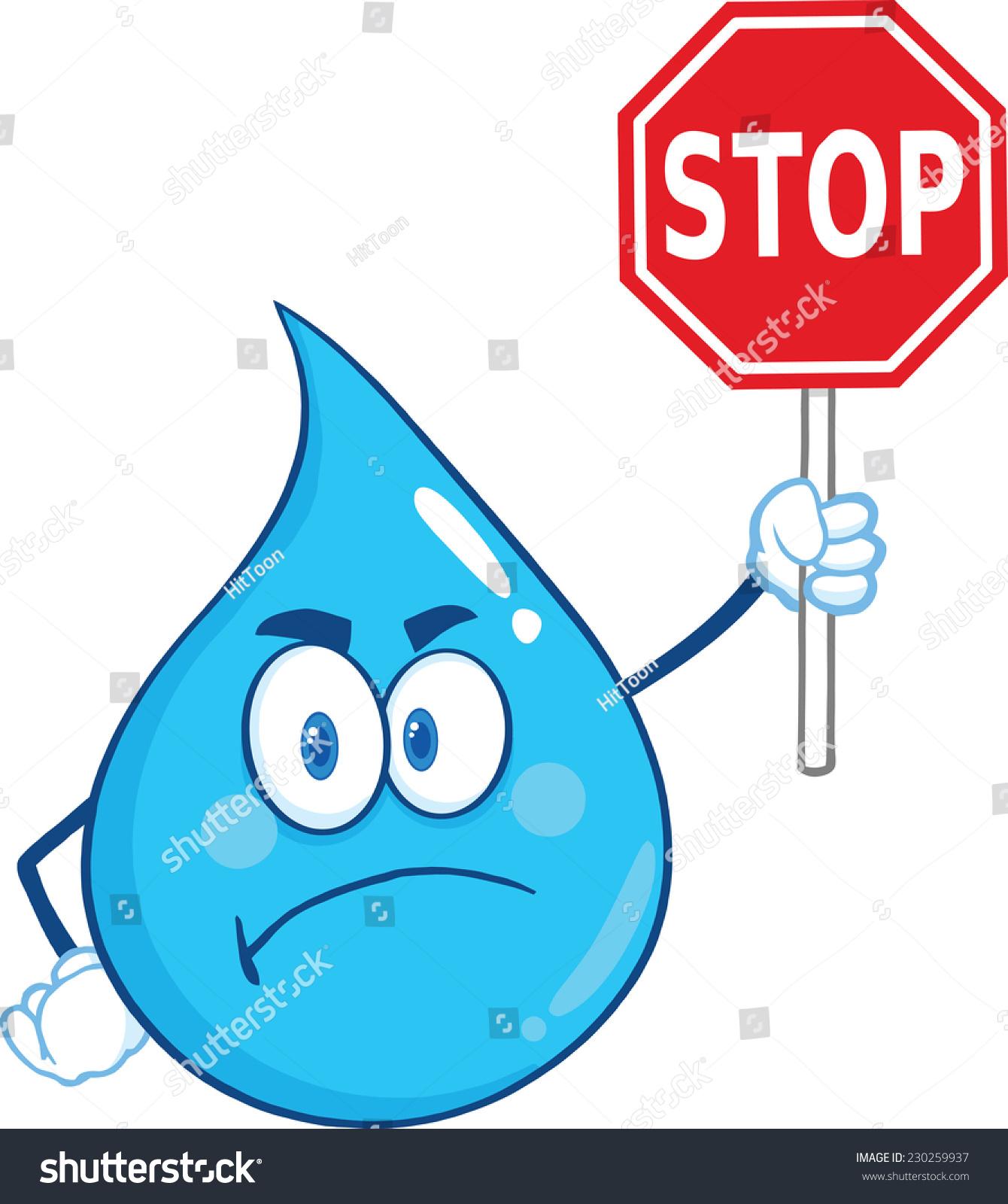 Angry Water Drop Cartoon Mascot Character Stock ...