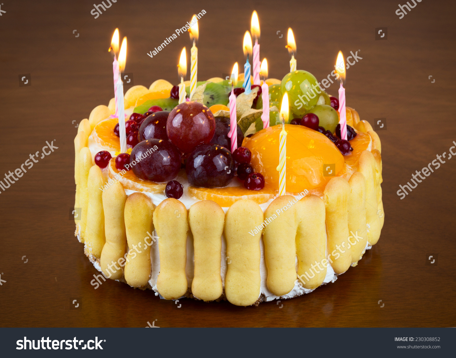 Happy Birthday Fruit Cake Candles On Stock Photo Edit Now
