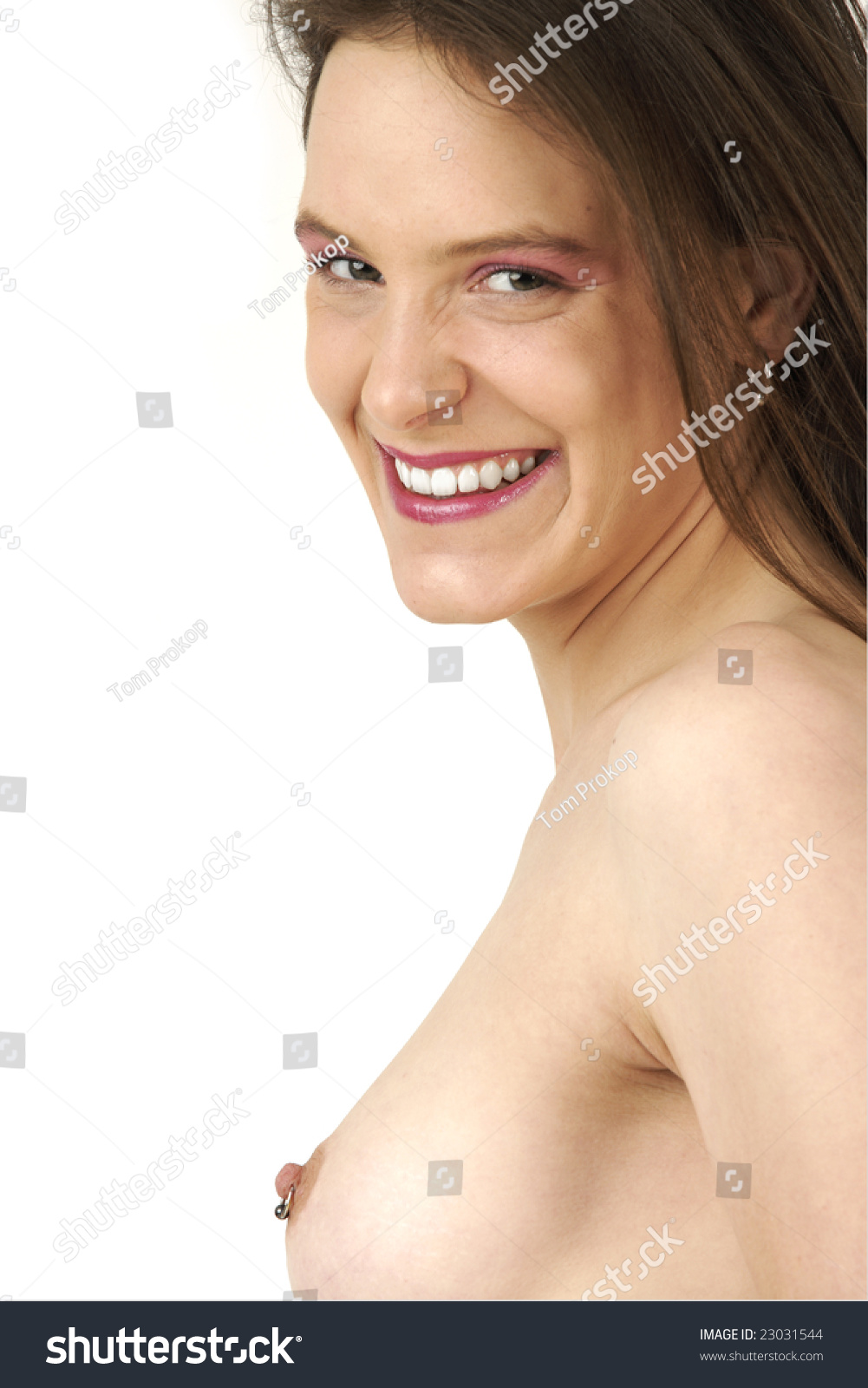Young Girl Shows Nice Nipple Piercing Stock Photo 23031544 -1204