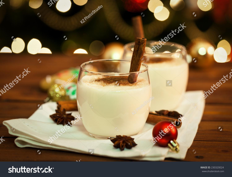 Eggnog Cinnamon Nutmeg Christmas Time Stock Photo ...