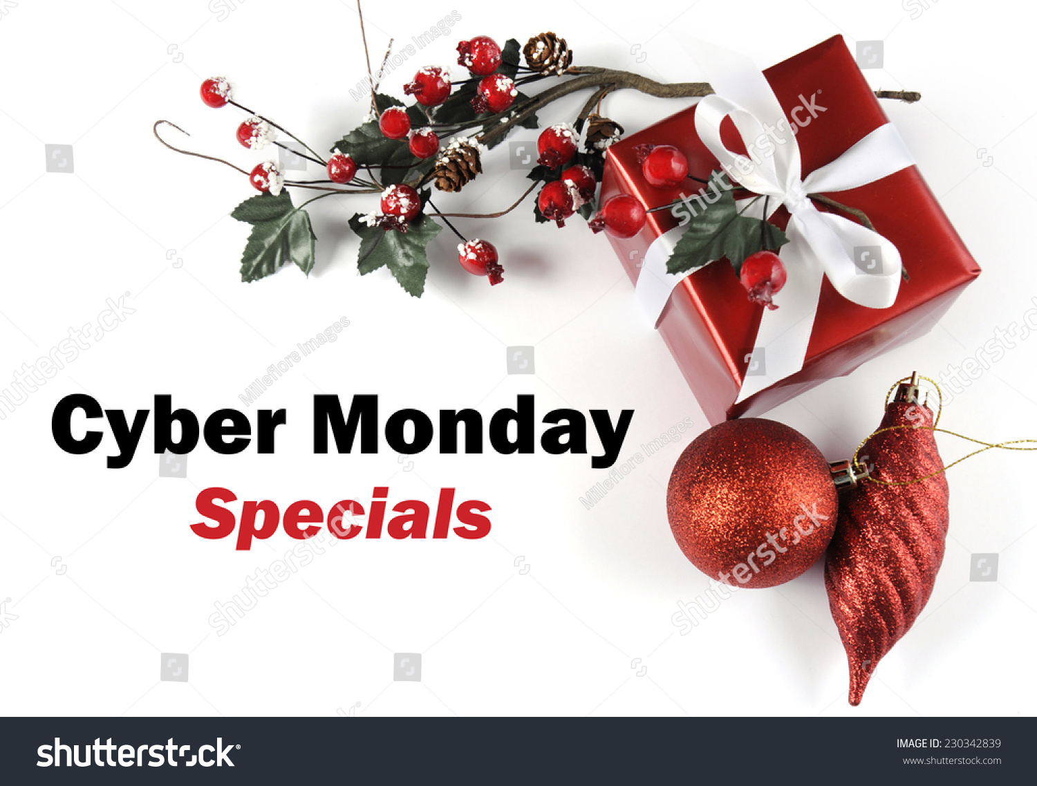 cyber monday specials sale message greeting with christmas gift and decorations on white background