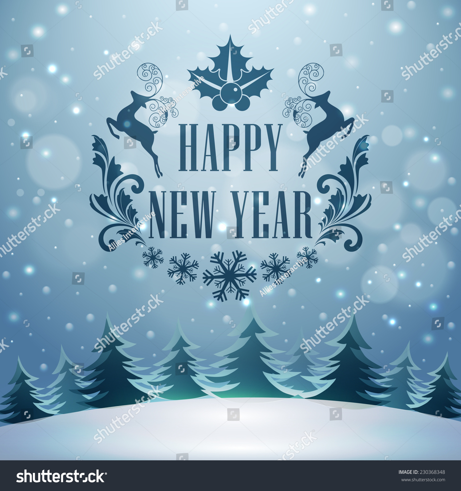 happy new year celebrations stylish text stock vector 230368348 happy new year celebrations stylish text and reindeer s on winter night background can be