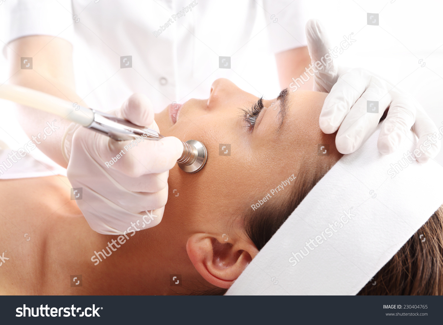 Microdermabrasion relaxed woman during microdermabrasion for A trial beauty treatment salon