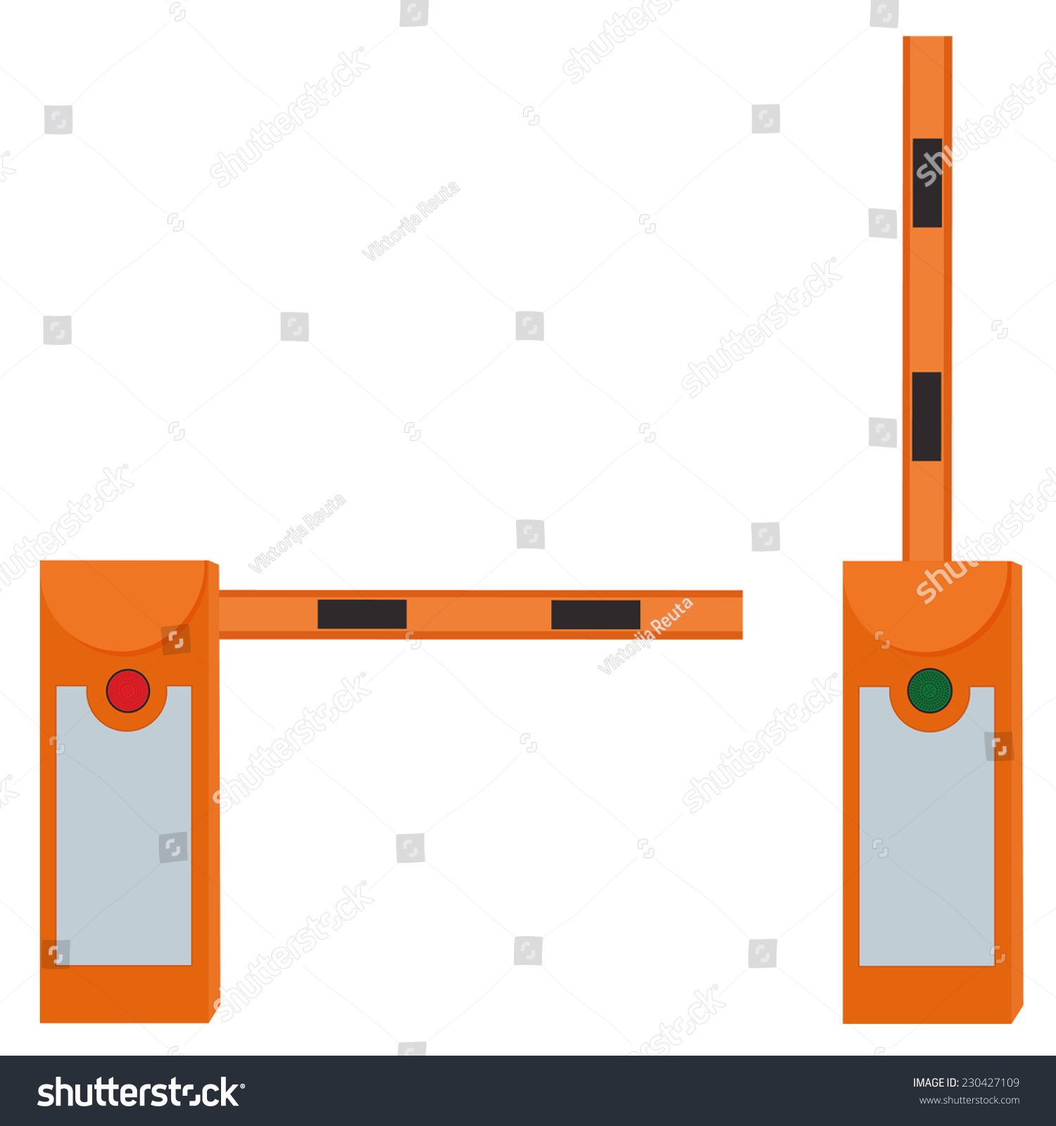 Closed barrier opened road stock vector