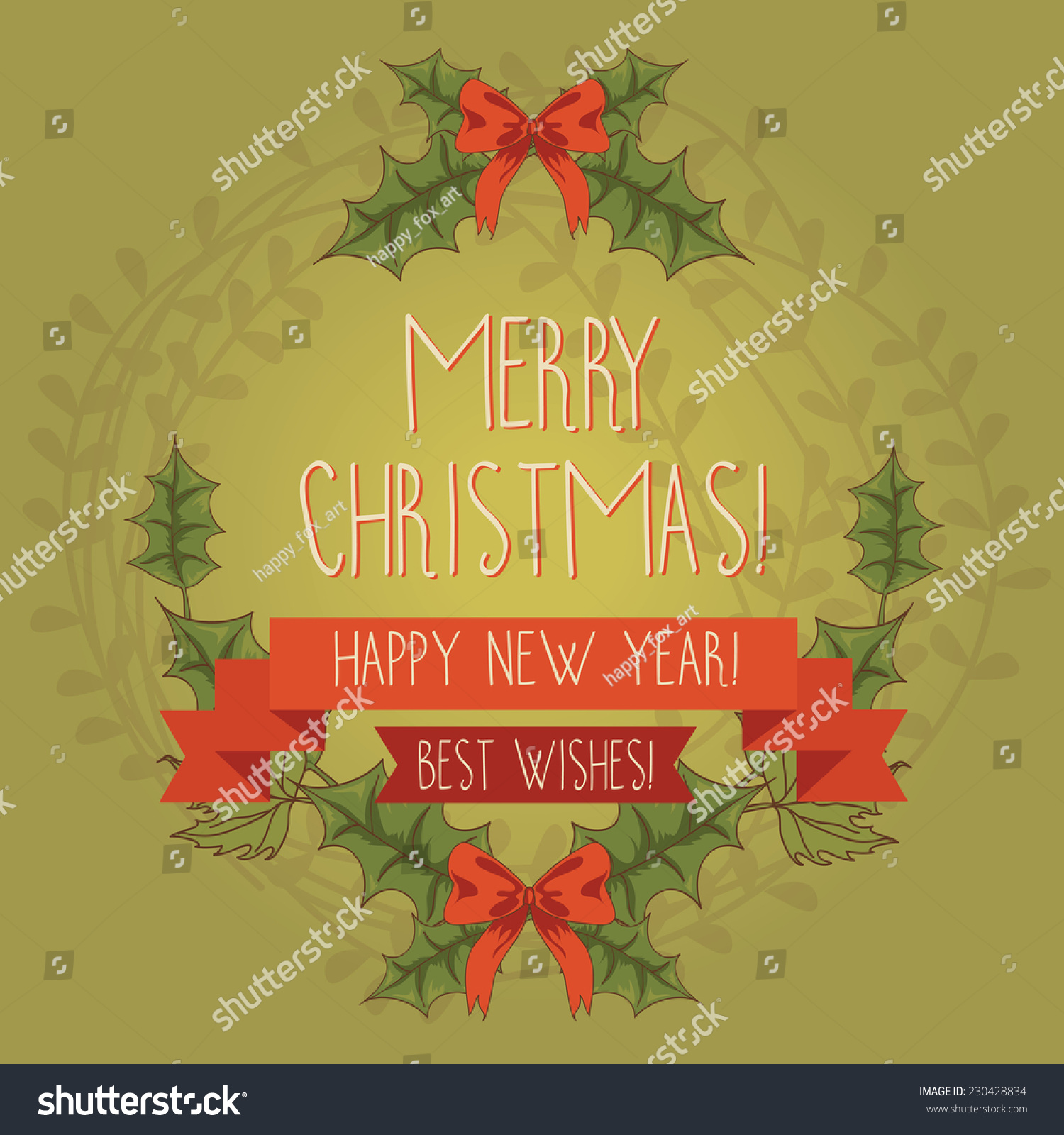 Why is holly a traditional christmas decoration - Christmas Greeting Card Vector Illustration Traditional Christmas Holly Wreath