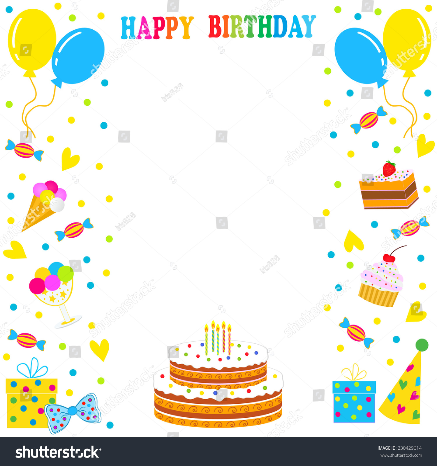 Royalty-free birthday frame, border. sweets,… #230429614 Stock Photo ...