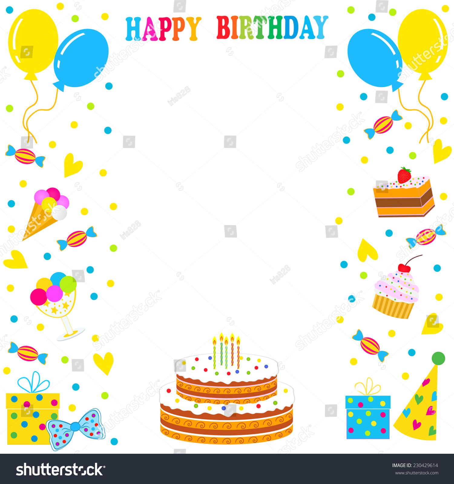Birthday Frame Border Sweets Balloons Cake Stock Vector (2018 ...