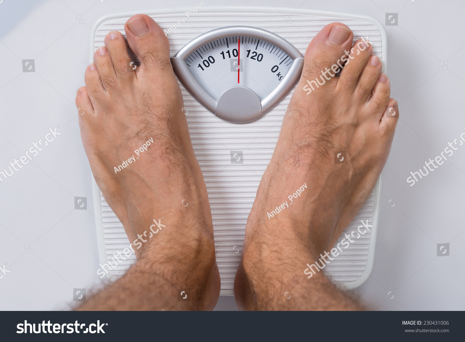 Low Section Man Standing On Weight Stock Photo 230431006