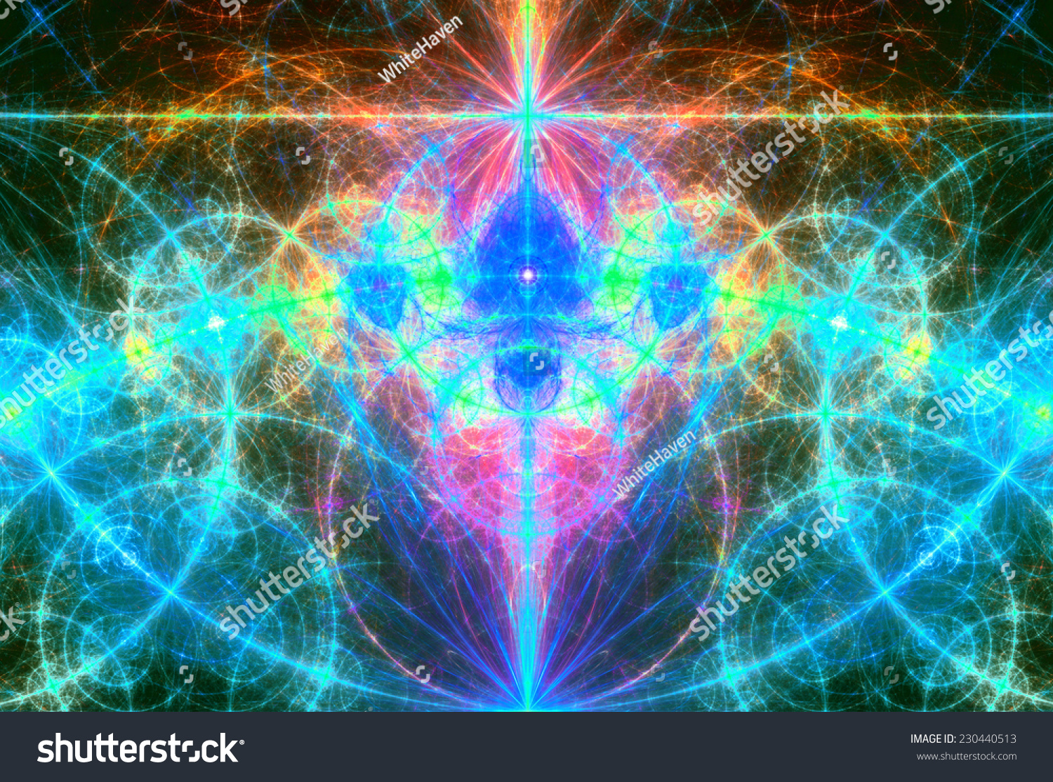 Abstract Glowing Bluegreenpinkorange Background With A Metaphysical Third Eye
