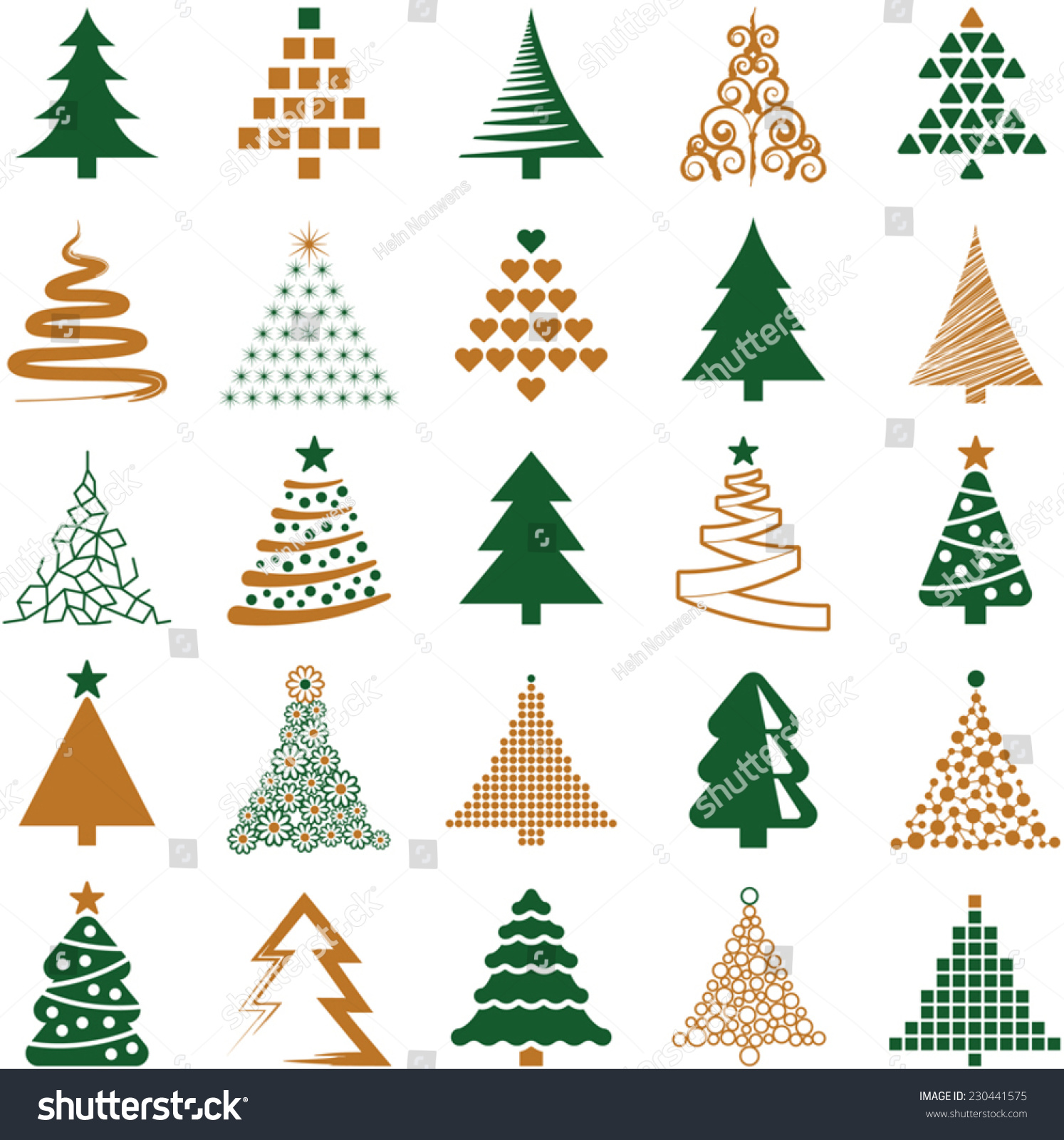Christmas tree icon collection vector illustration stock
