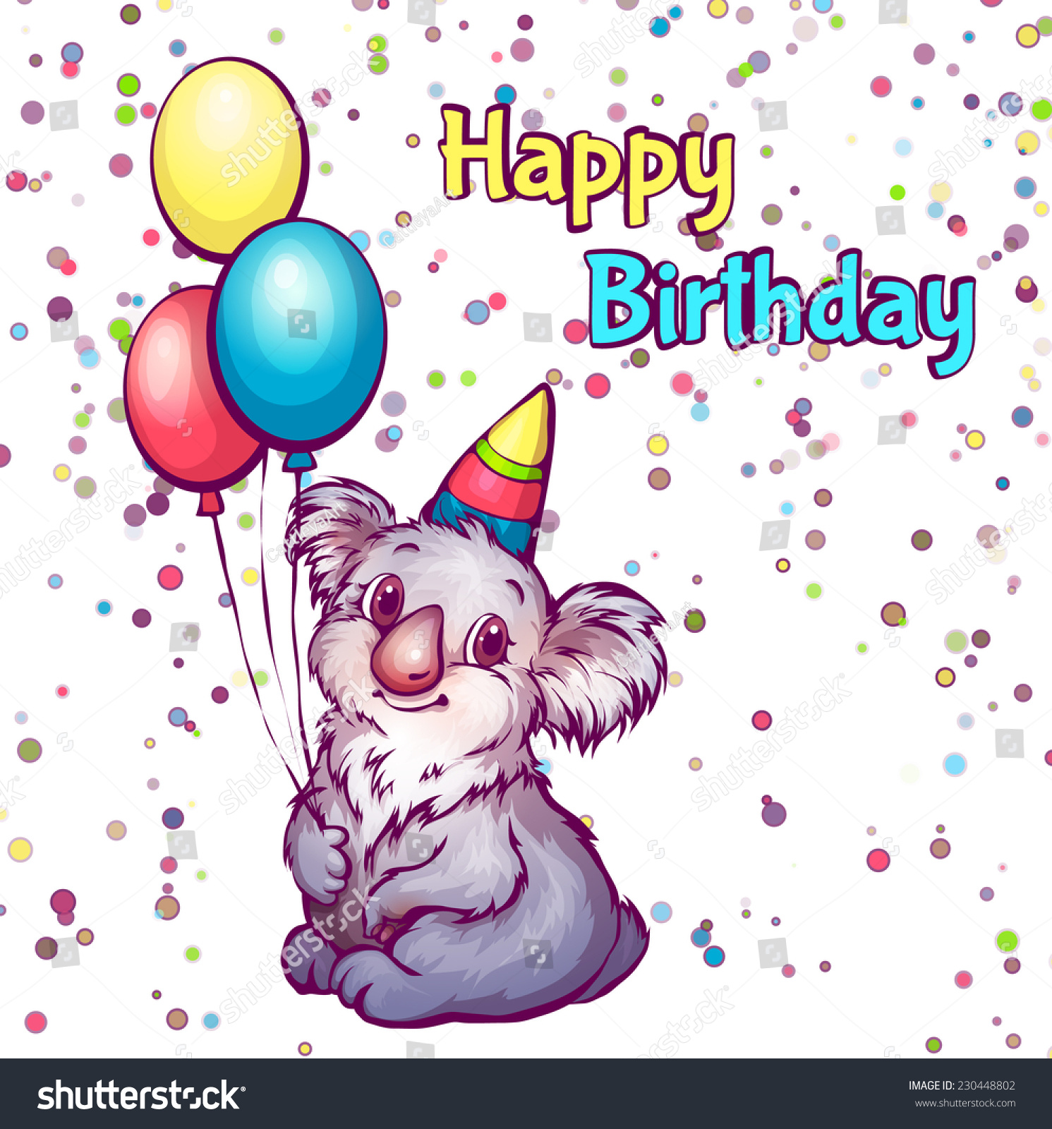 Vector Illustration Happy Birthday Greetings Koala Stock Vector