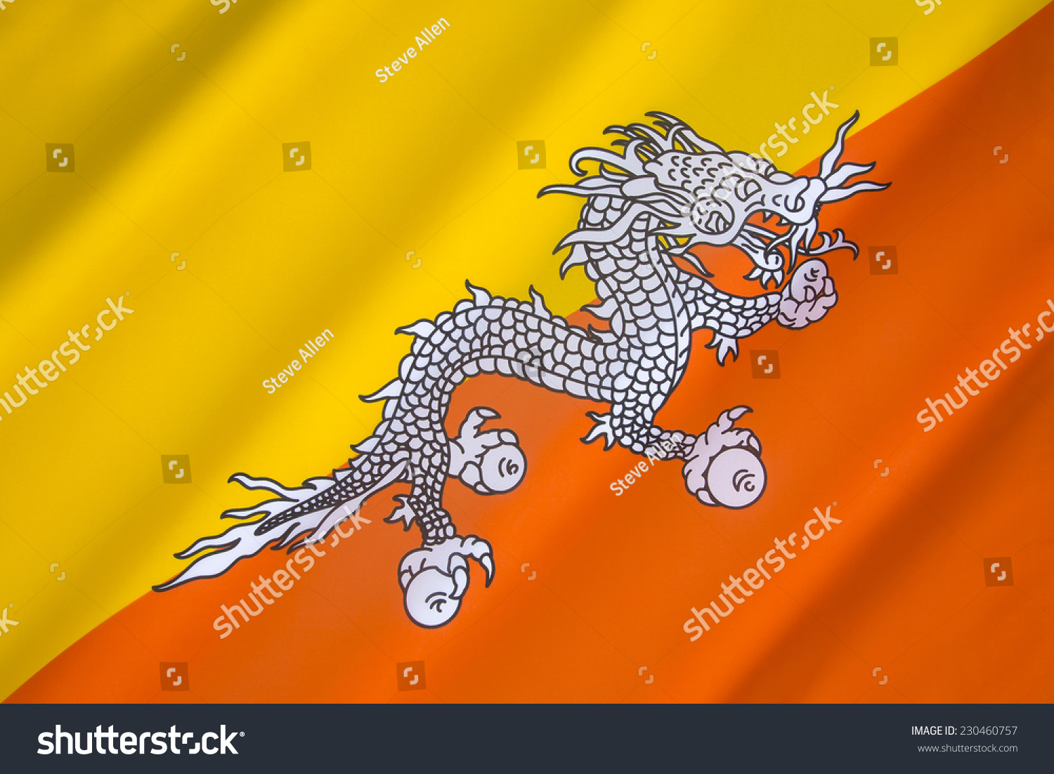 Flag Bhutan One National Symbols Bhutan Stock Photo Edit Now