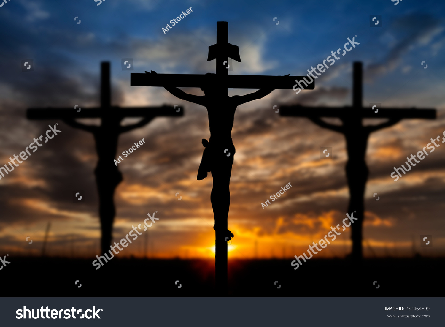 silhouette jesus christ on cross background stock photo 230464699