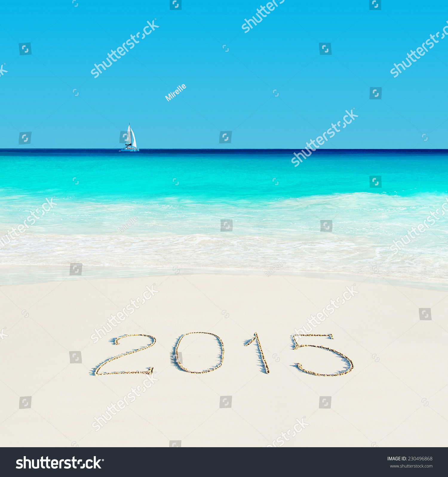 Yacht At Tropical Beach And 2015 Happy New Year Sandy ...