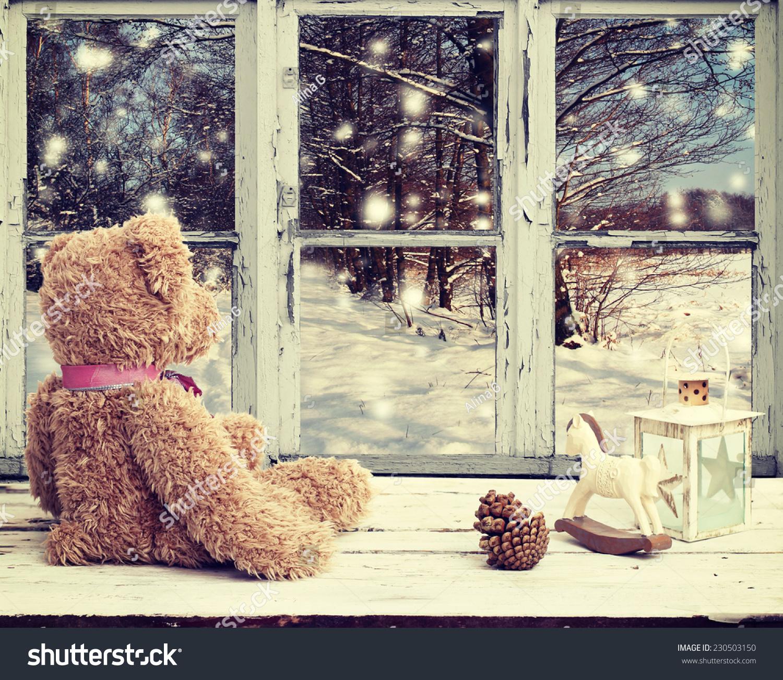 Teddy Bear Rocking Horse Looking Snowy Stock Photo Edit Now 230503150