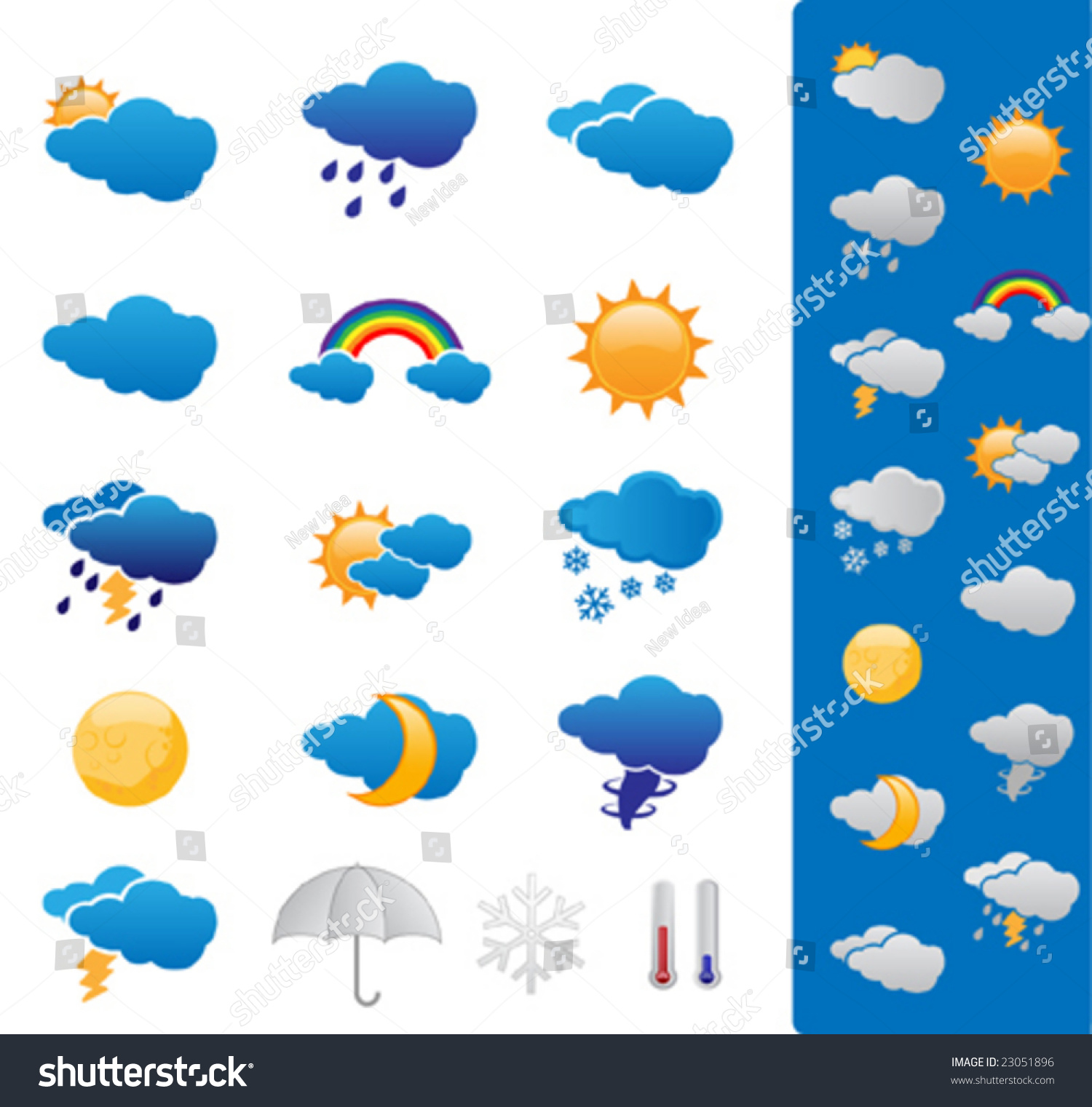 Weather Forecast Symbols Stock Vector Royalty Free 23051896