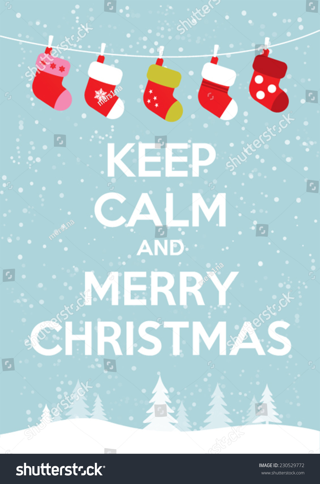 Keep Calm Merry Christmas Stock Vector (Royalty Free) 230529772 ...