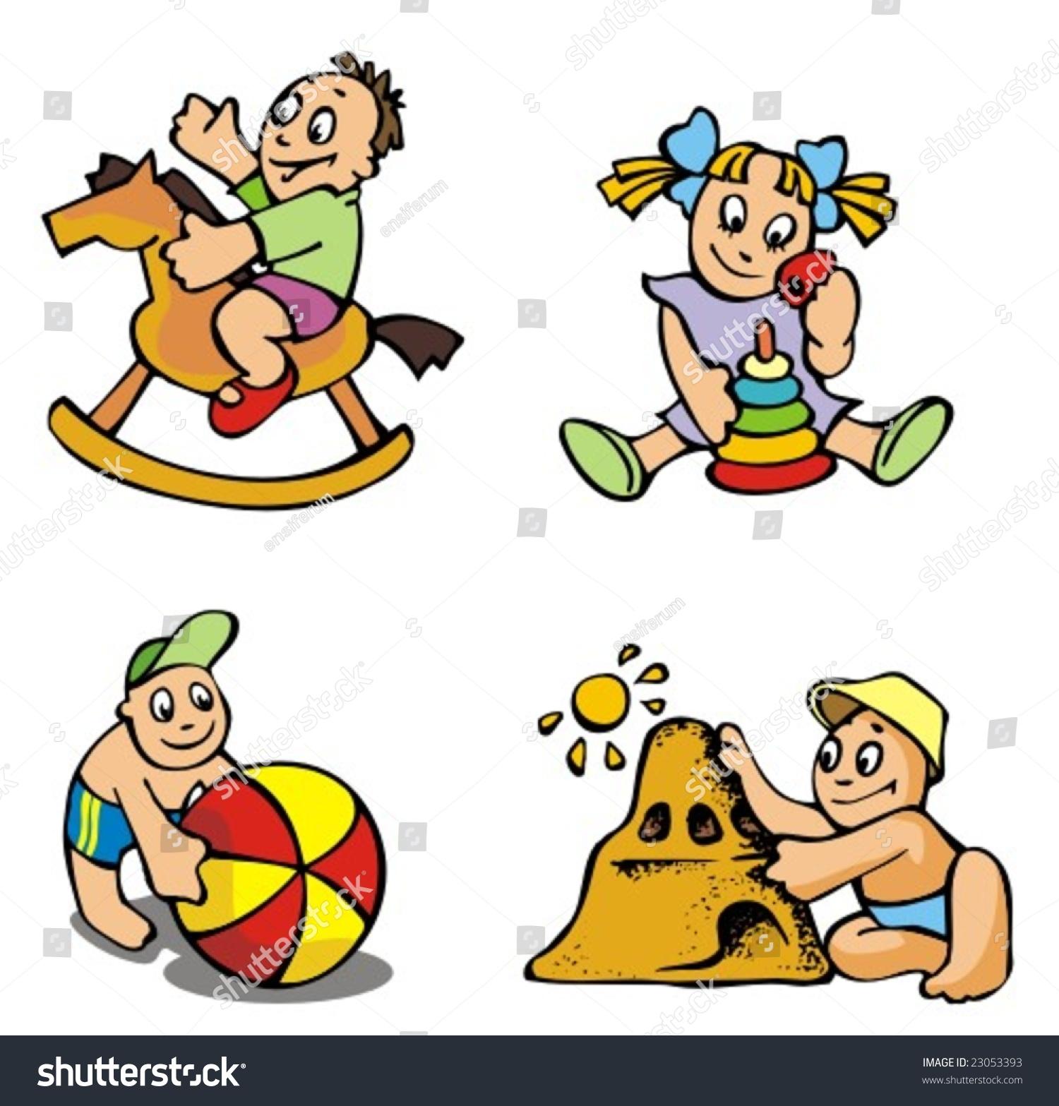 set of cartoon drawing of children babies different activities vector illustration - Cartoon Drawing For Children