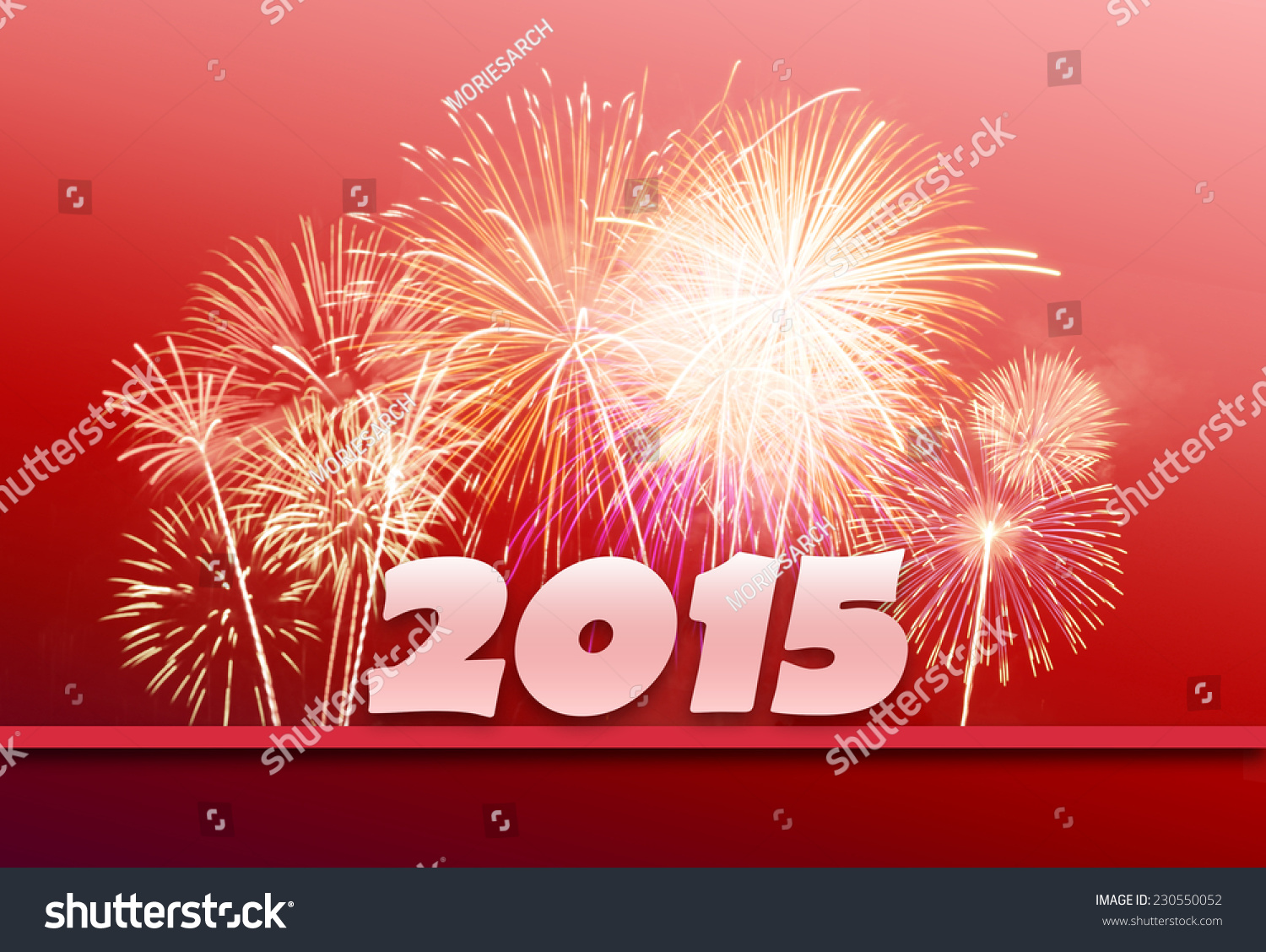 new year 2015 with fireworksred background stock photo