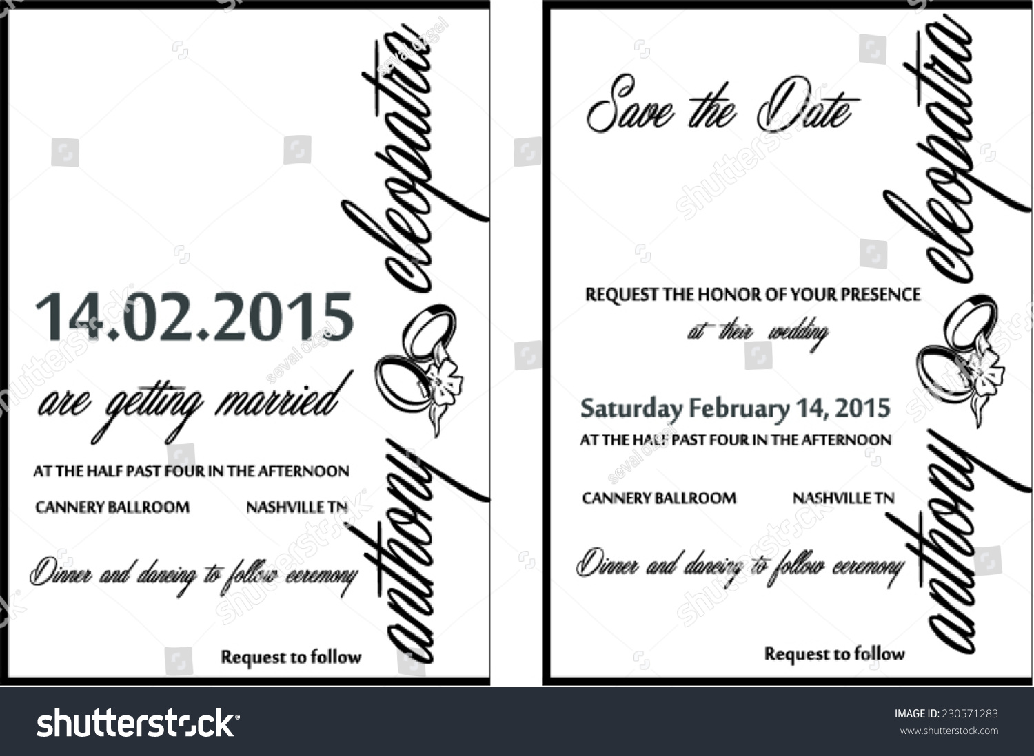 Black white elegant wedding invitation vector stock vector black white elegant wedding invitation vector card template stopboris Images