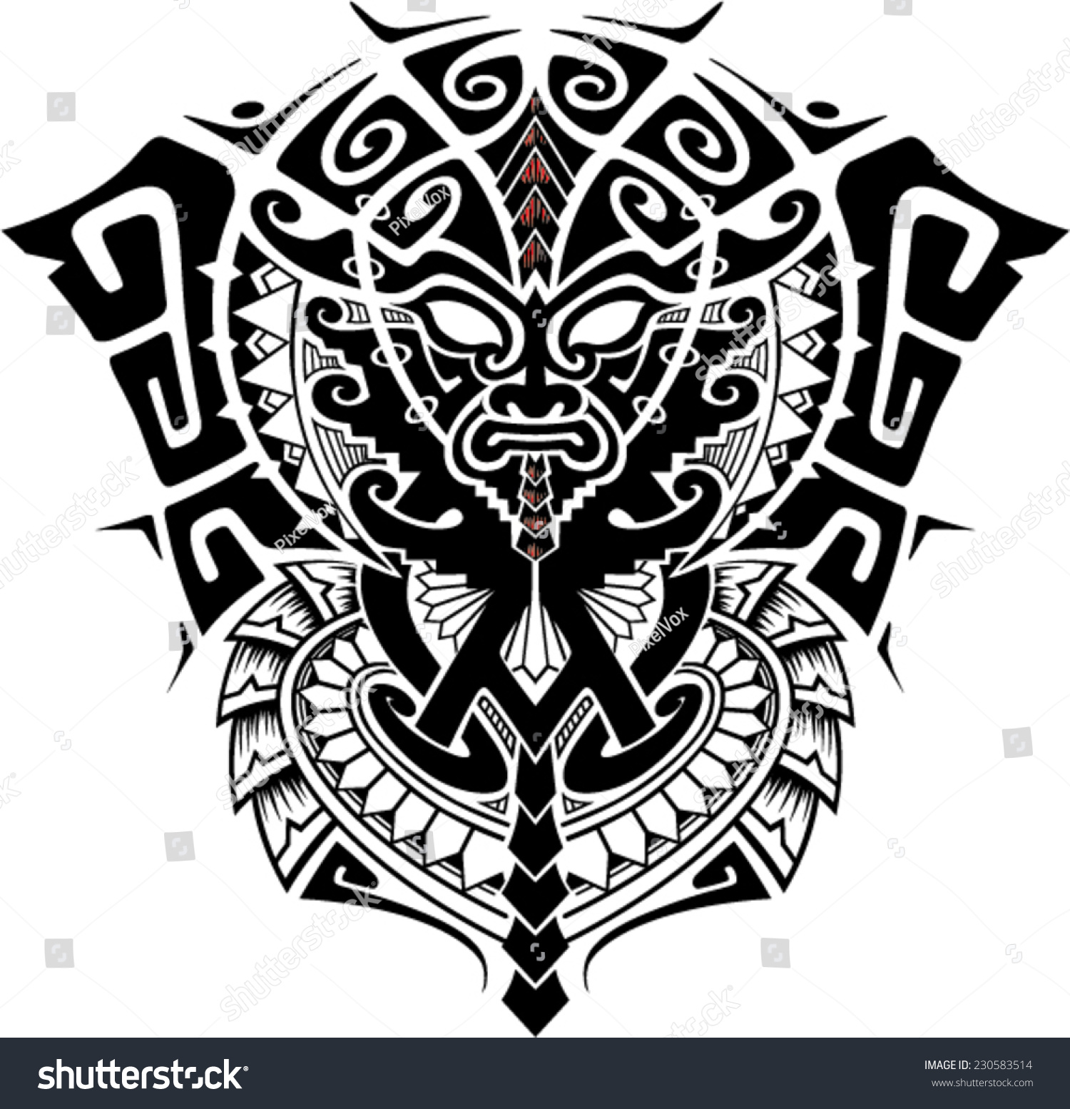 Stock Vector Tribal God Mask With Alpha And Omega Symbol Vector Illust...