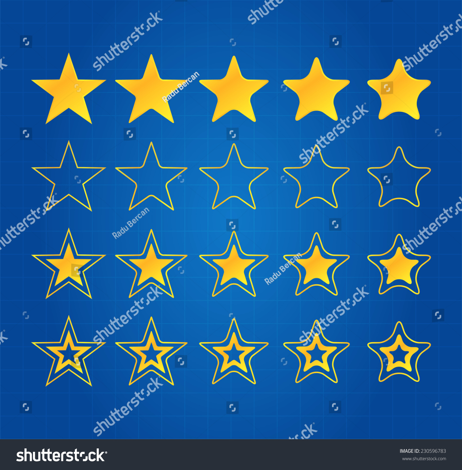 Five star quality award icons on stock vector 230596783 shutterstock five star quality award icons on blueprint malvernweather Gallery