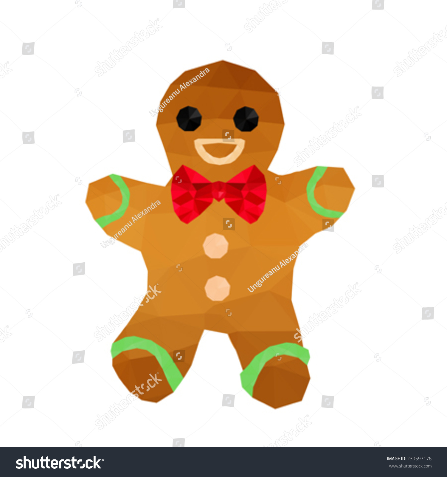 Illustration Funny Origami Gingerbread Red Ribbon Stock ... - photo#16