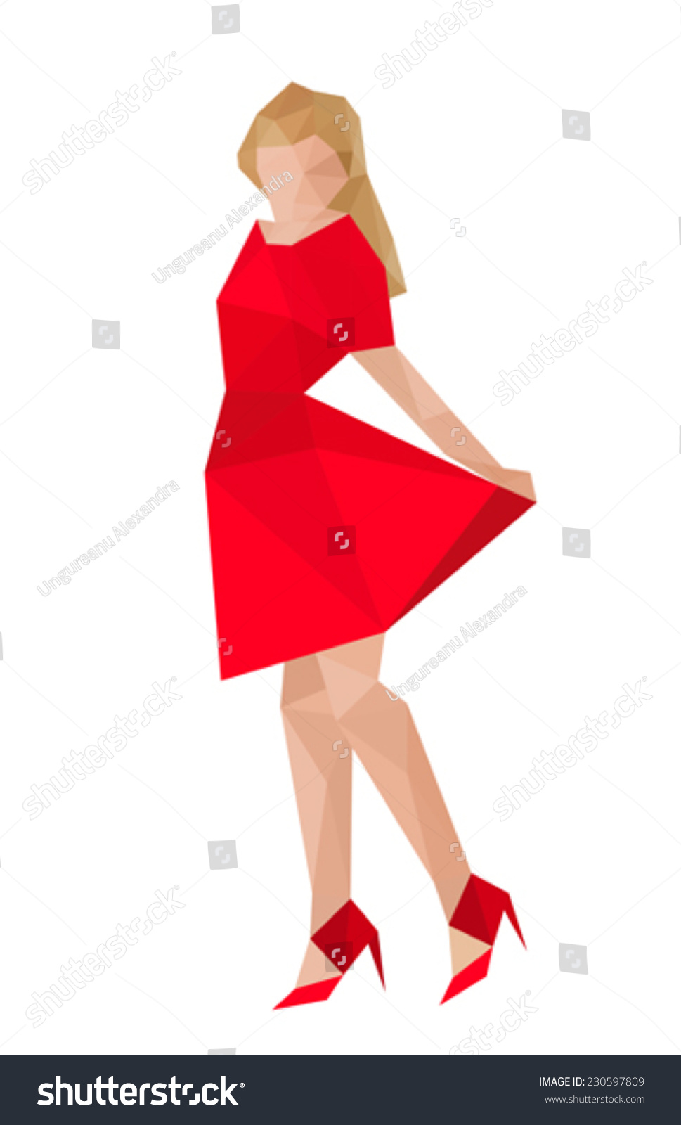illustration of origami girl with red dress 230597809