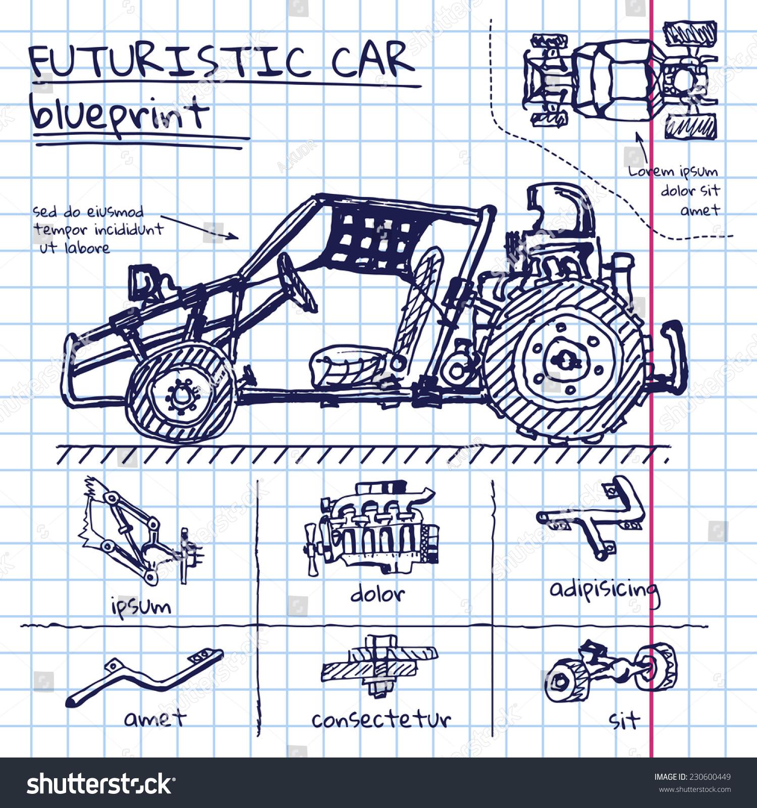 Vector Doodle Futuristic Car Scheme Exercise Stock Vector 230600449 ...