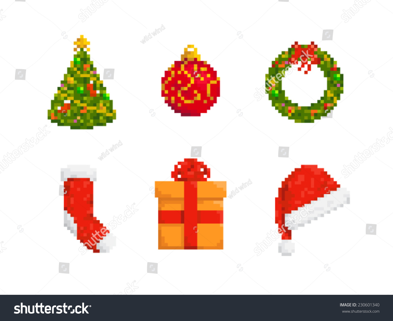 collection of christmas stuff pixel art style icons