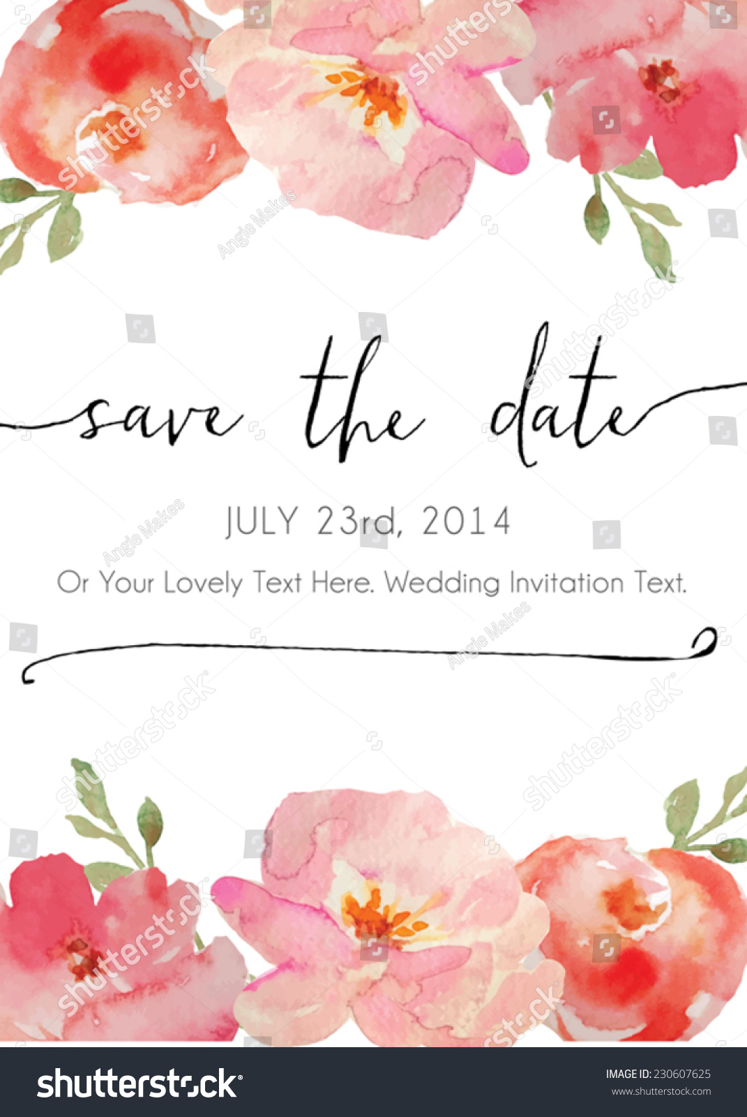Calligraphy vector save the date watercolor