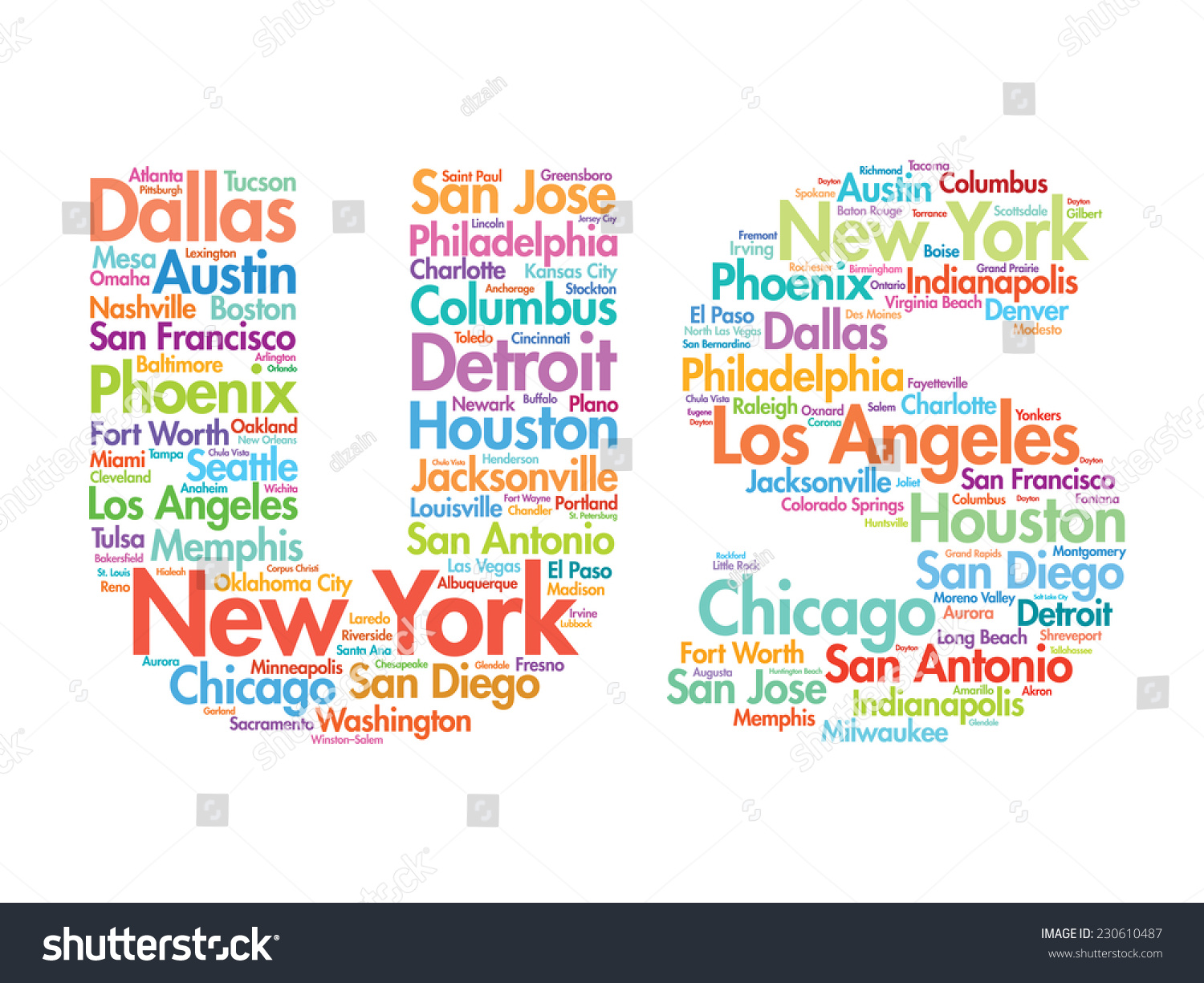 Us Letters With Cities Names Words Cloud Vector Concept