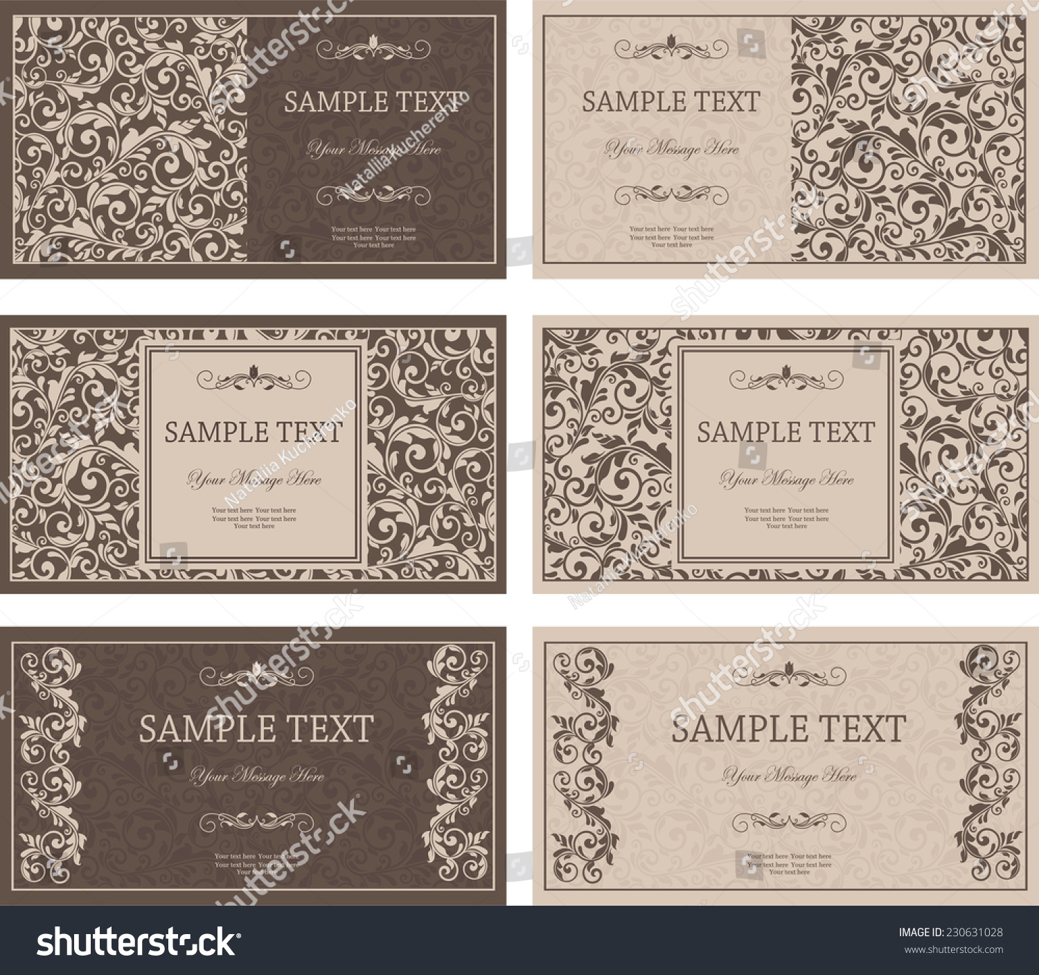 Set Six Business Cards Victorian Pattern Stock Vector 230631028 ...