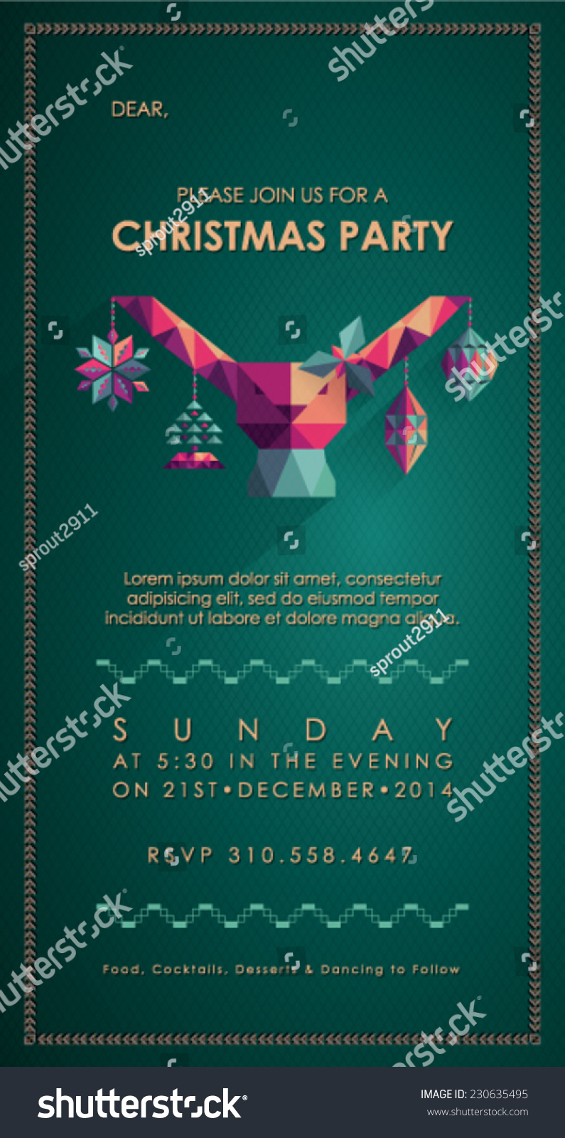 Christmas Party Invitation Card Stock Vector Royalty Free