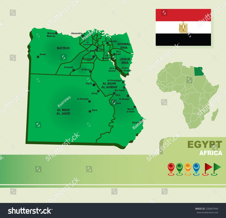 Egypt Vector Map Flag Stock Vector Shutterstock - Map of egypt vector free
