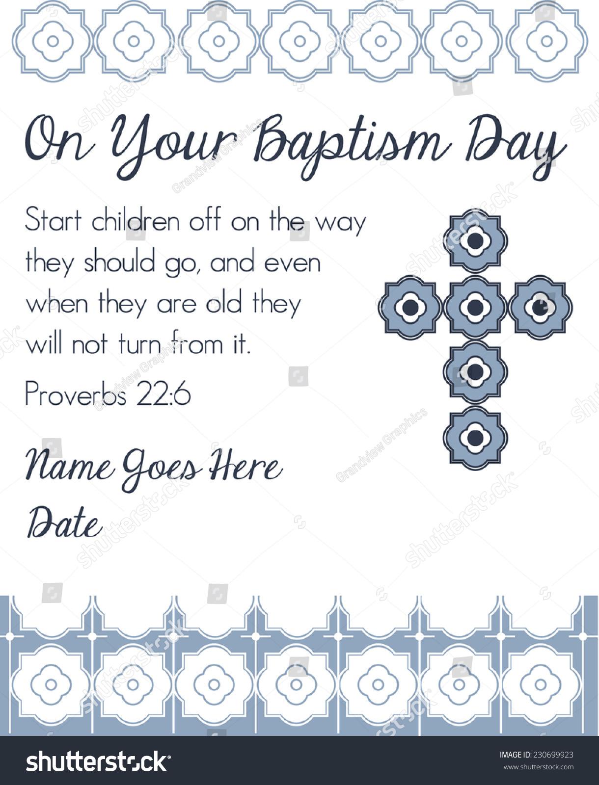 Blue Boys Baptism Christening Invitation Cross Design Stock Vector