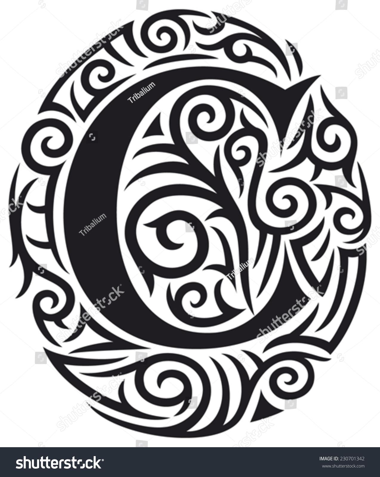 Letter C Tattoo Tribal Design Stock Vector 230701342 ...