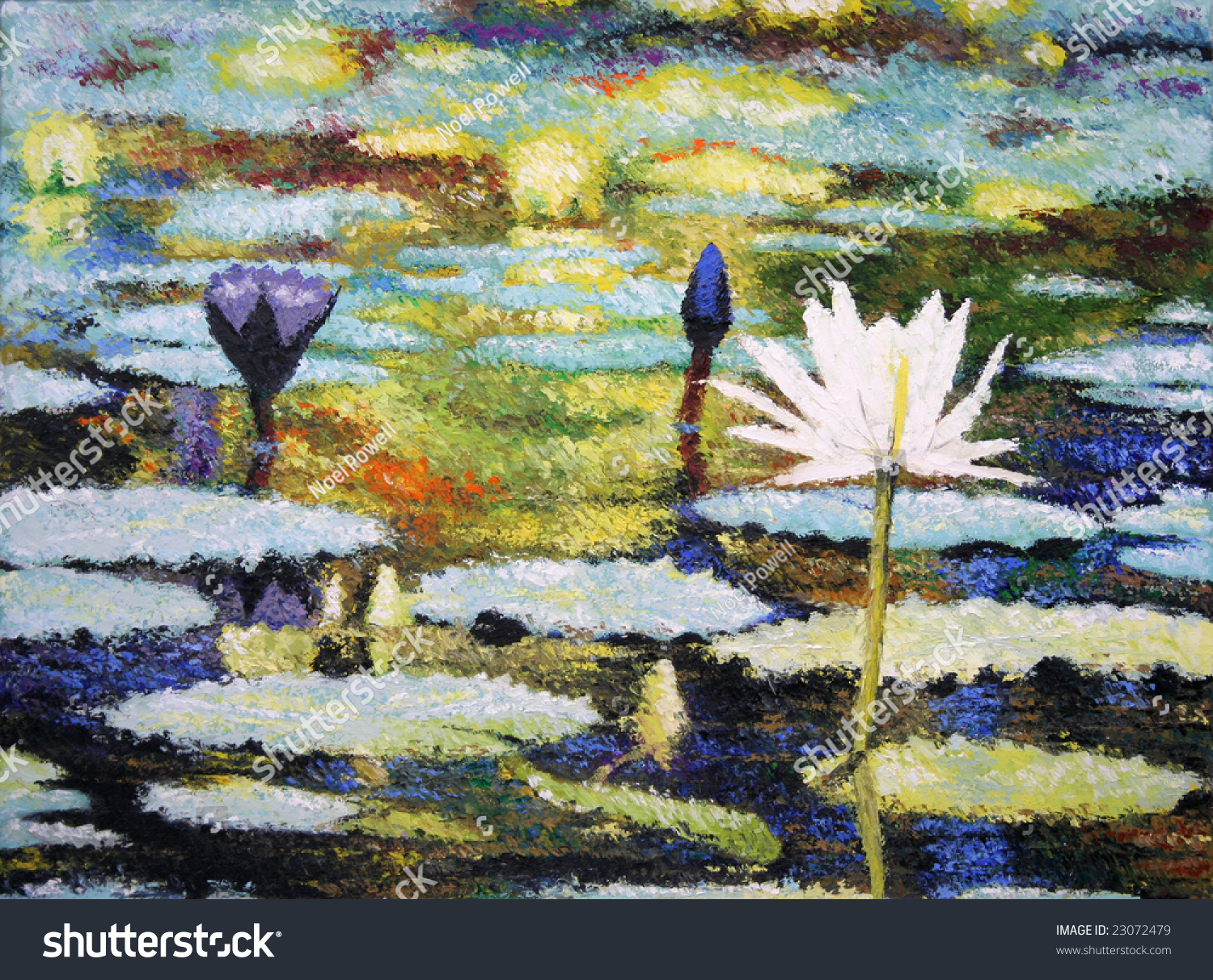 photo of an impressionist painting of lilies original art by me 23072479 shutterstock. Black Bedroom Furniture Sets. Home Design Ideas